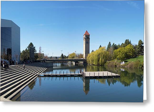 Spokane Greeting Cards - Riverfront Park South Channel Panorama Greeting Card by Daniel Hagerman