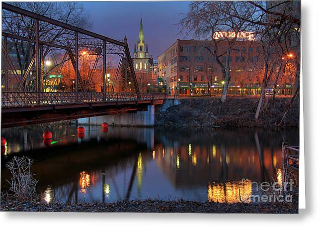 Little Wayne Greeting Cards - Riverplace Minneapolis Little Europe Greeting Card by Wayne Moran