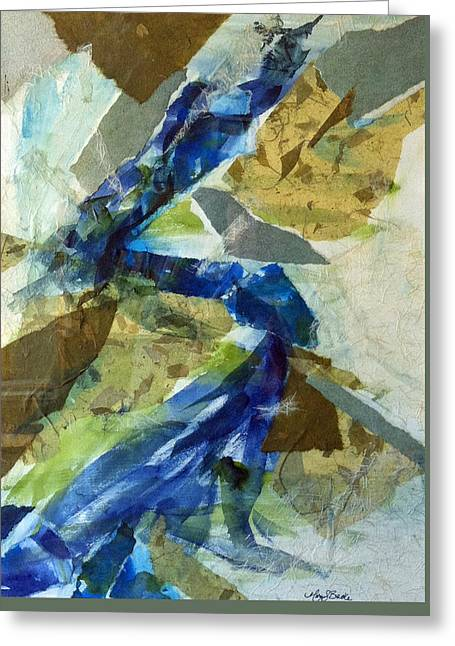 Geometric Effect Mixed Media Greeting Cards - Riverrun Greeting Card by Mary Benke