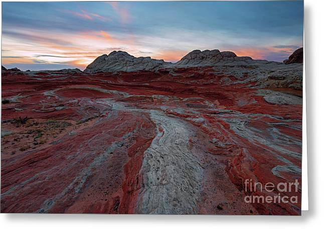 Rivers Of Red Greeting Card by Mike Dawson