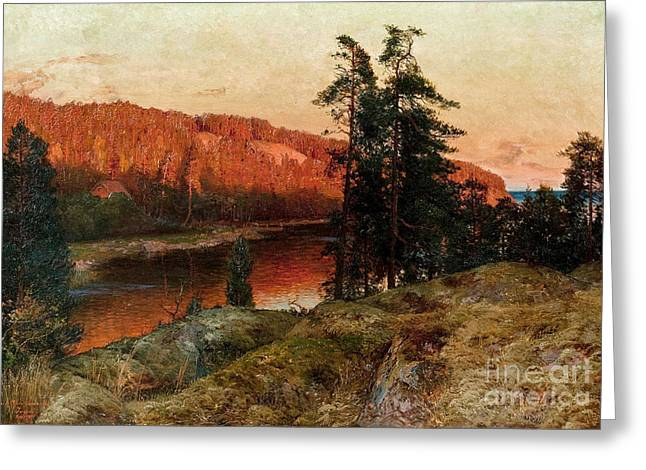 1907 Greeting Cards - Riverscape Greeting Card by Erik Abrahamsson