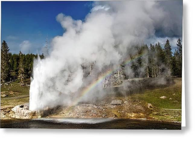 Riverside Geyser With Rainbow - Yellowstone Greeting Card by NPS Neal Herbert