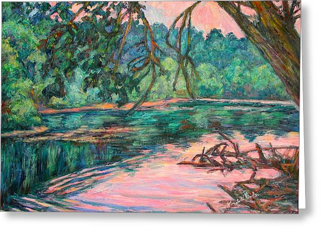Paintng Greeting Cards - Riverview at Dusk Greeting Card by Kendall Kessler