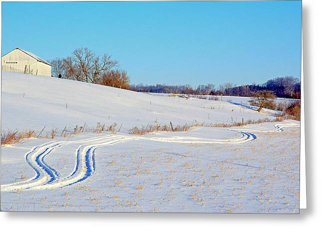 Snow Tree Prints Greeting Cards - Riverview farm Greeting Card by Julius Virca