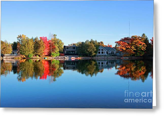 Riverview In Autumn Greeting Card by Charline Xia