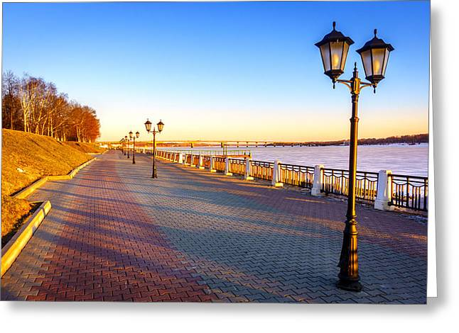 Riverwalk Along The Volga River Greeting Card by Alexey Stiop