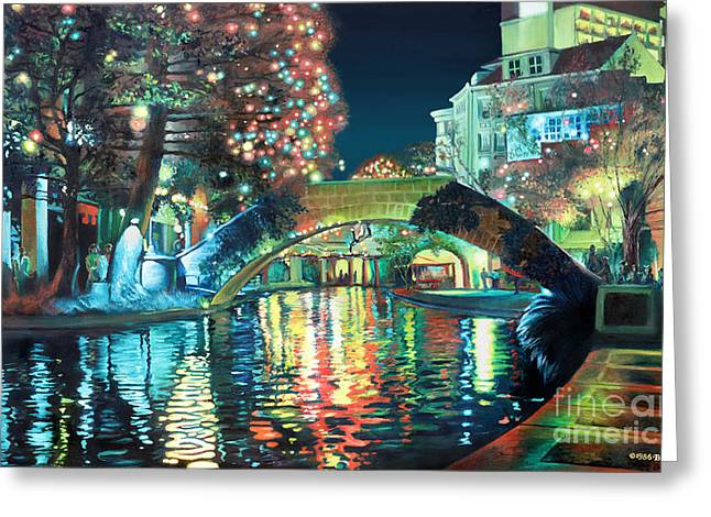 Urban Paintings Greeting Cards - Riverwalk Greeting Card by Baron Dixon