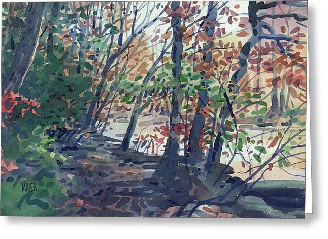 River Paintings Greeting Cards - Riverwalk Greeting Card by Donald Maier