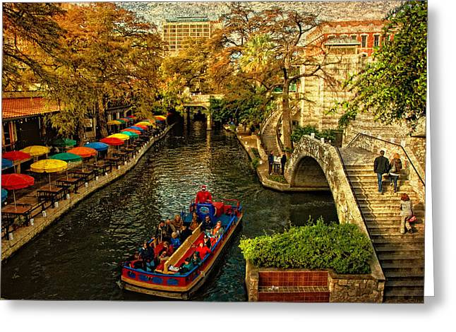 River Boat Greeting Cards - RiverWalk Greeting Card by Iris Greenwell