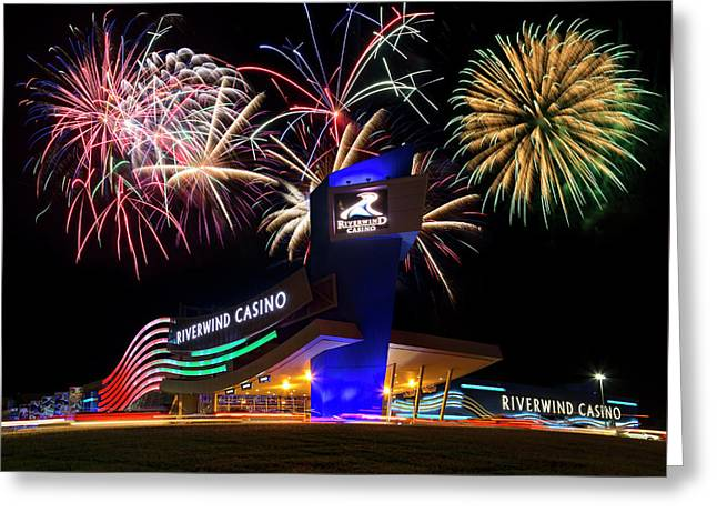 Riverwind Fireworks Greeting Card by Ricky Barnard