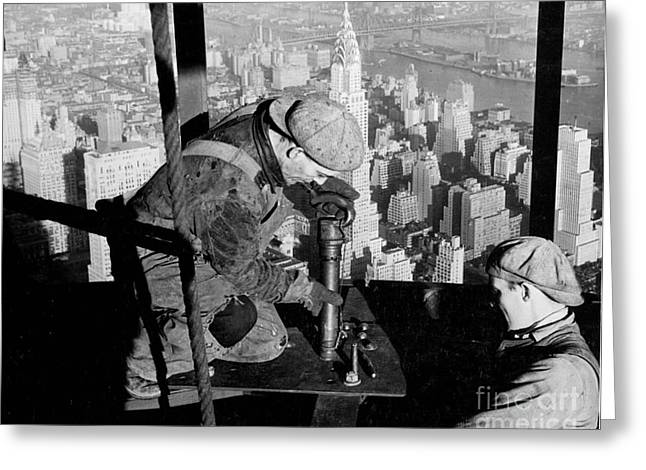 High Rise Greeting Cards - Riveters on the Empire State Building Greeting Card by LW Hine