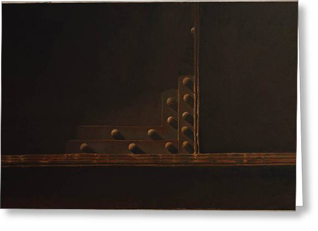 Rivets Paintings Greeting Cards - Rivets and Shadow Greeting Card by Scott Geyer