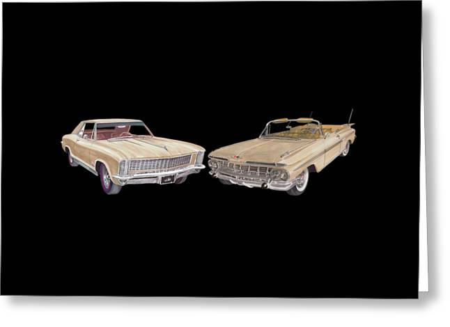 Recently Sold -  - Shower Curtain Greeting Cards - Riviera and Impala 1965 and 1959 Greeting Card by Jack Pumphrey