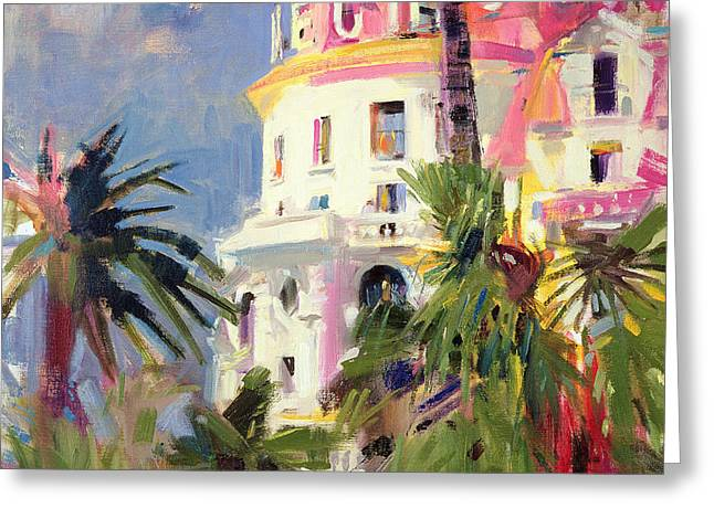 Midi Greeting Cards - Riviera Balcony Greeting Card by Peter Graham