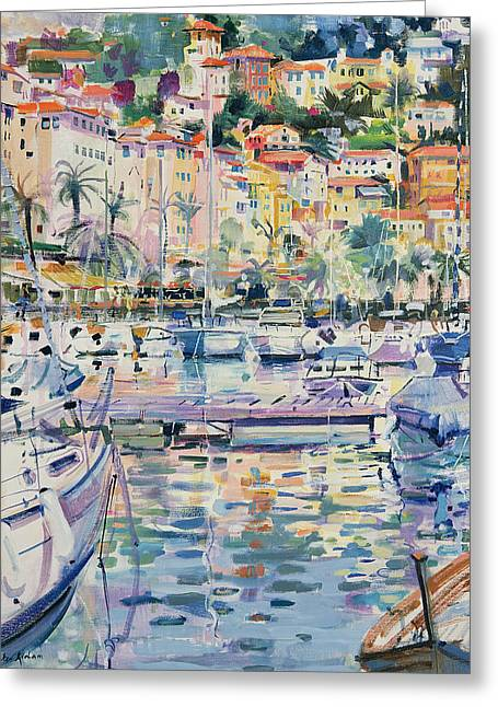Port Town Greeting Cards - Riviera Yachts Greeting Card by Peter Graham