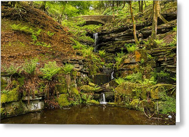 Rivington Terraced Gardens Waterfall. Greeting Card by Daniel Kay
