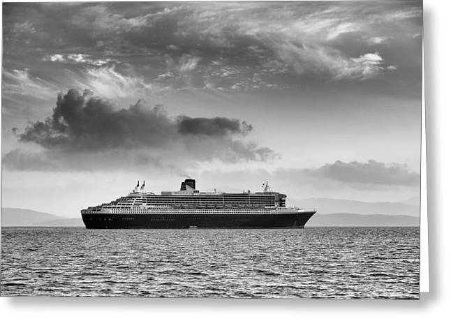 Boat Cruise Greeting Cards - RMS Queen Mary 2 mono Greeting Card by Grant Glendinning