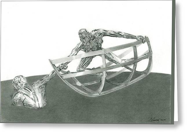 Reach Drawings Greeting Cards - RNLI sculpture Poole Dorset England Greeting Card by Dave Irving