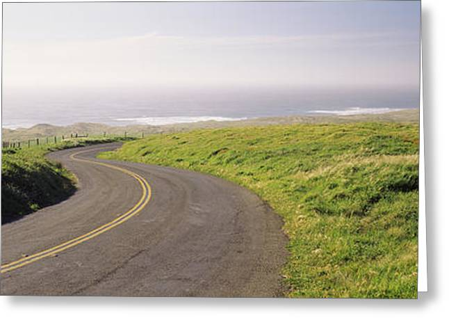 Road Along The Coast, Point Reyes Greeting Card by Panoramic Images
