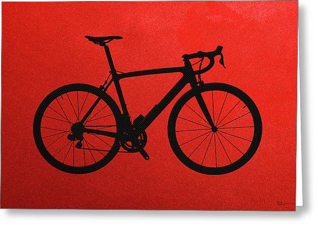 Ultra Modern Greeting Cards - Road Bike Silhouette - Black on Red Canvas Greeting Card by Serge Averbukh