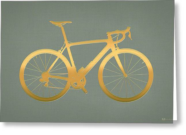Ultra Modern Greeting Cards - Road Bike Silhouette - Gold on Beige Canvas Greeting Card by Serge Averbukh