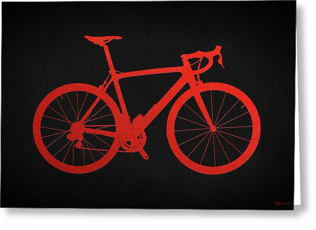 Ultra Modern Greeting Cards - Road Bike Silhouette - Red on Black Canvas Greeting Card by Serge Averbukh