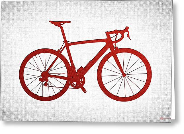 Ultra Modern Greeting Cards - Road Bike Silhouette - Red on White Canvas Greeting Card by Serge Averbukh