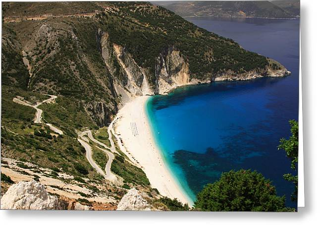 Mountain Road Greeting Cards - Road down to Myrtos beach Greeting Card by Deborah Benbrook
