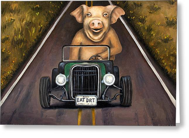 Swine Greeting Cards - Road Hog Greeting Card by Leah Saulnier The Painting Maniac