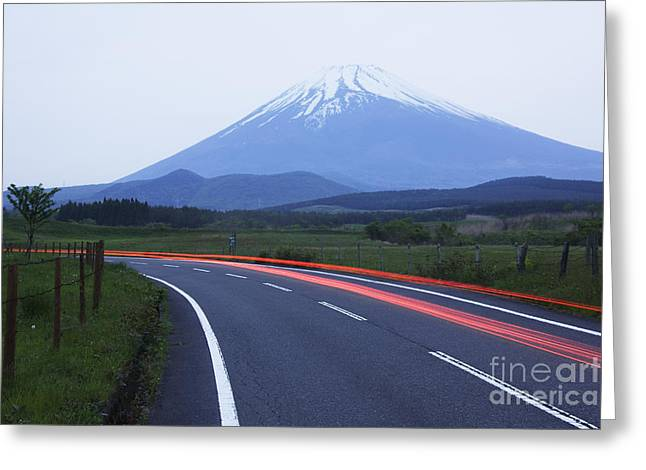 Snow Capped Greeting Cards - Road Near Mount Fuji Greeting Card by Jeremy Woodhouse