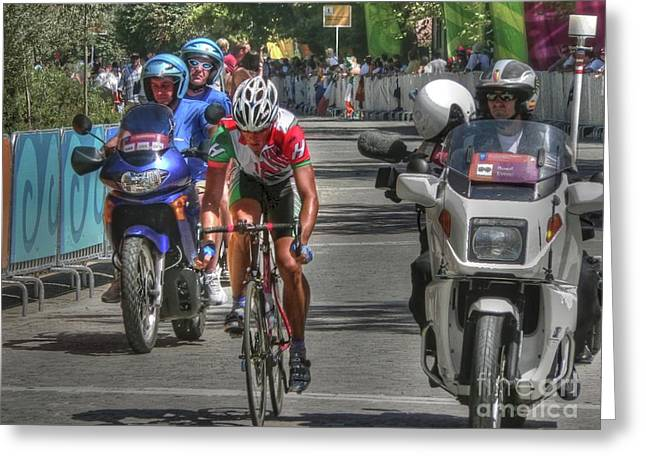 Summer Olympics Greeting Cards - Road Race Leader in Athens Greeting Card by David Bearden