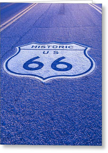 Road Sign Route 66 Greeting Card by Garry Gay