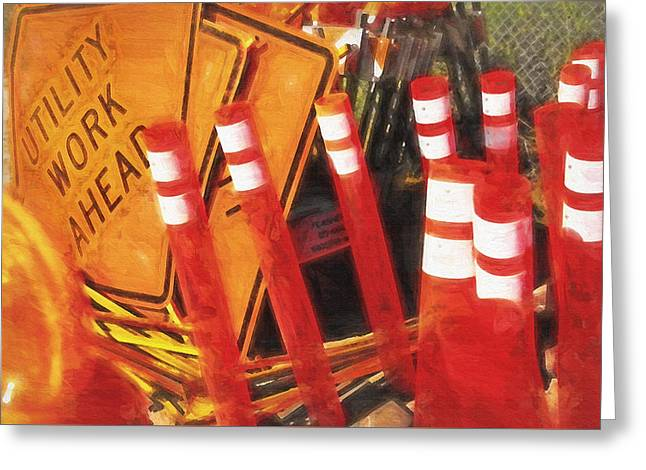 Road Crew Greeting Cards - Road Signs Still Life Greeting Card by Steve Ohlsen