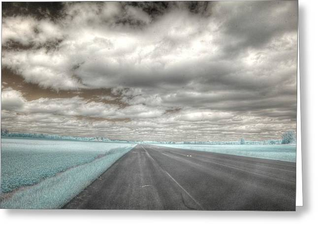 Road Sky Infrared Clouds Landscape Open Road Travel Path Road Trip Greeting Card by Jane Linders