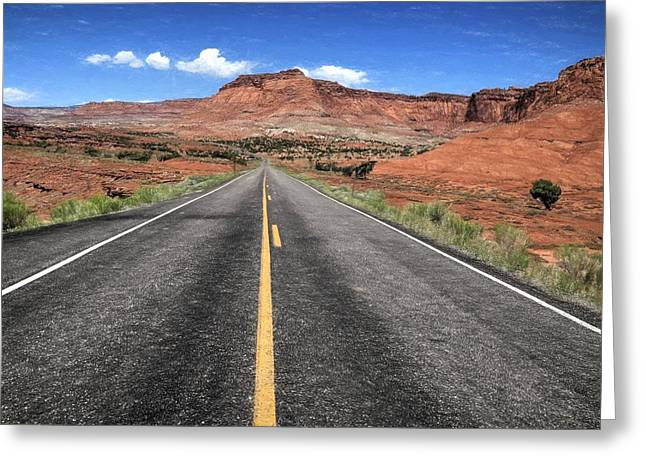 Mountain Road Greeting Cards - Road To Capital Reef N P Greeting Card by Donna Kennedy