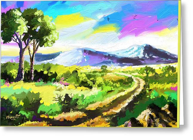 Pallet Knife Greeting Cards - Road to Freedom Greeting Card by Anthony Mwangi
