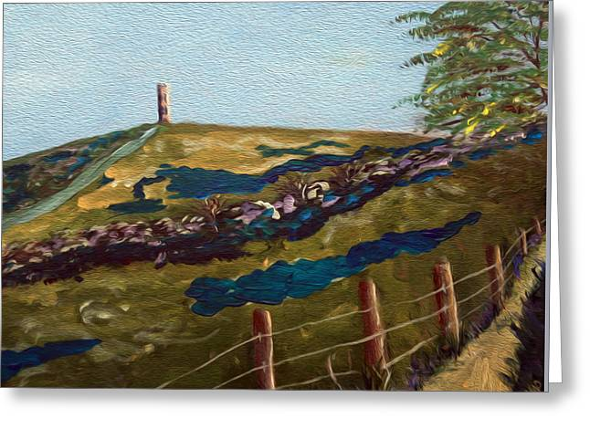 Tor Paintings Greeting Cards - Road to Glastonbury Greeting Card by Maura Satchell