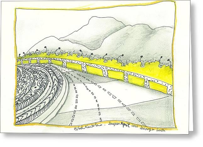 Mountain Road Drawings Greeting Cards - Road to Koje Greeting Card by Sibel Kantola