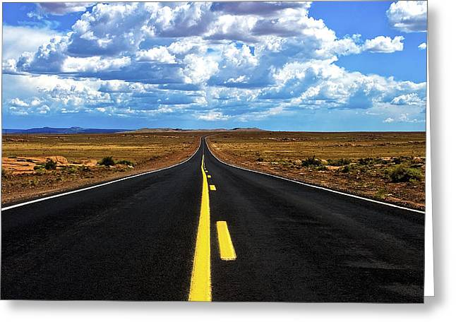 Meteor Greeting Cards - Road to Meteor Crater Greeting Card by Lou  Novick