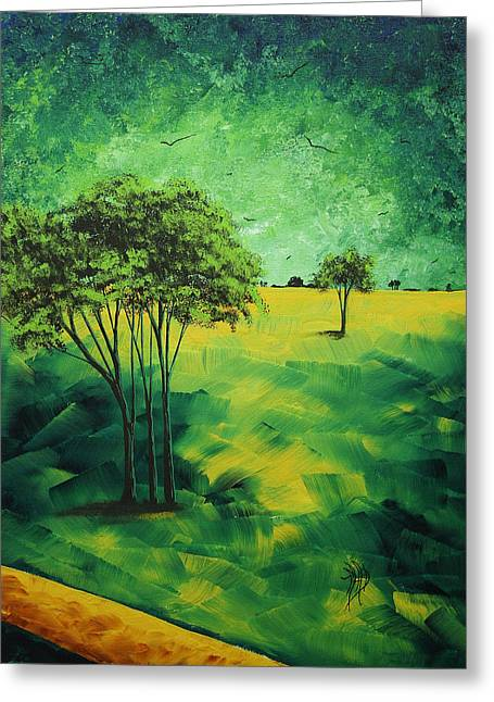 Gold Lime Green Greeting Cards - Road to Nowhere 1 by MADART Greeting Card by Megan Duncanson