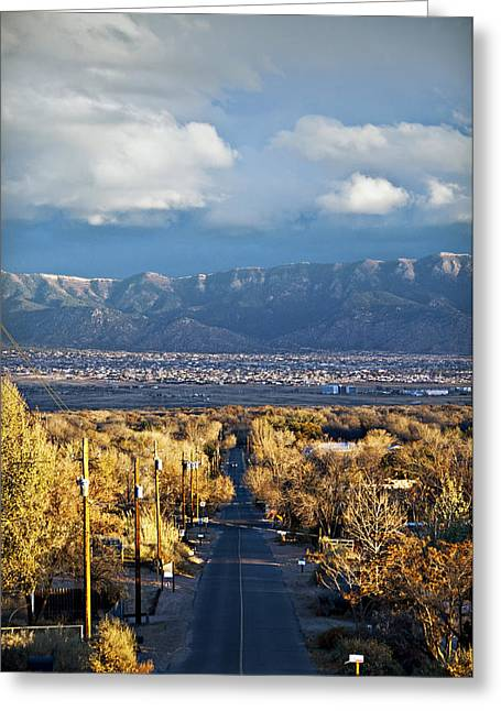 New Mexican Greeting Cards - Road to Sandia Mountains Greeting Card by Ray Laskowitz - Printscapes