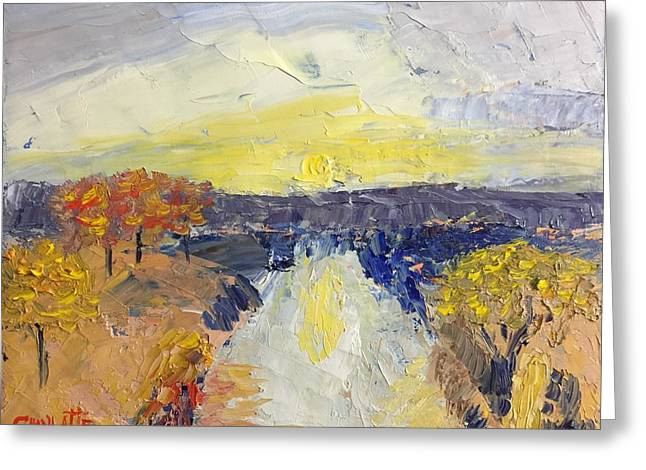 Pallet Knife Greeting Cards - Road to the Sun Greeting Card by Marino Chanlatte