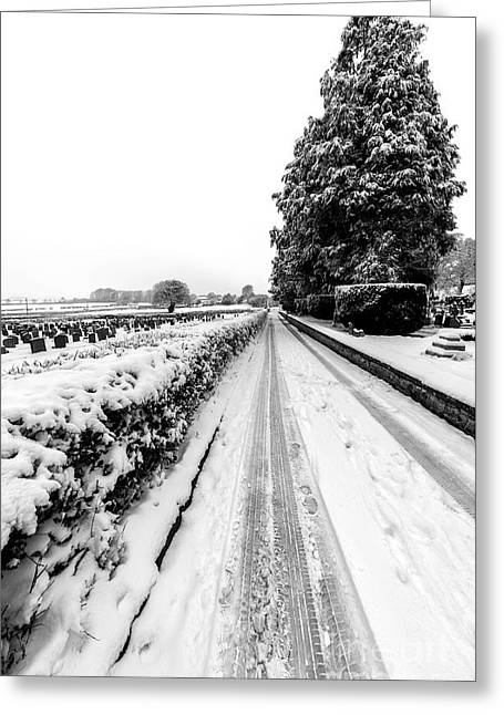 Snow Tree Prints Digital Greeting Cards - Road To Winter Greeting Card by Adrian Evans