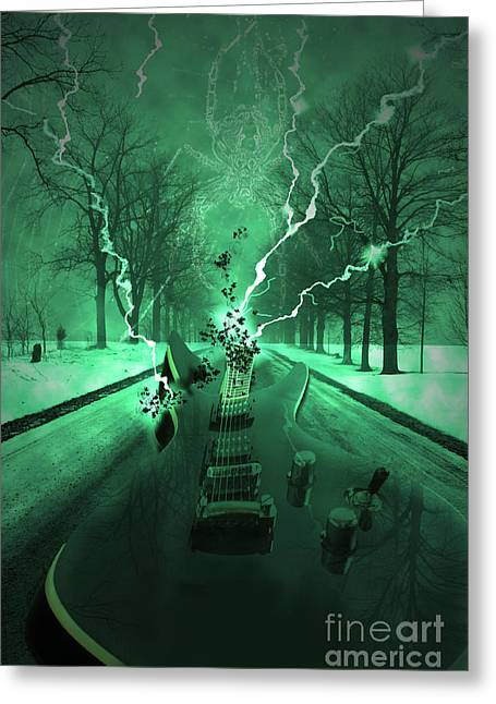 Electric Guitar Greeting Cards - Road Trip Effects  Greeting Card by Cathy  Beharriell