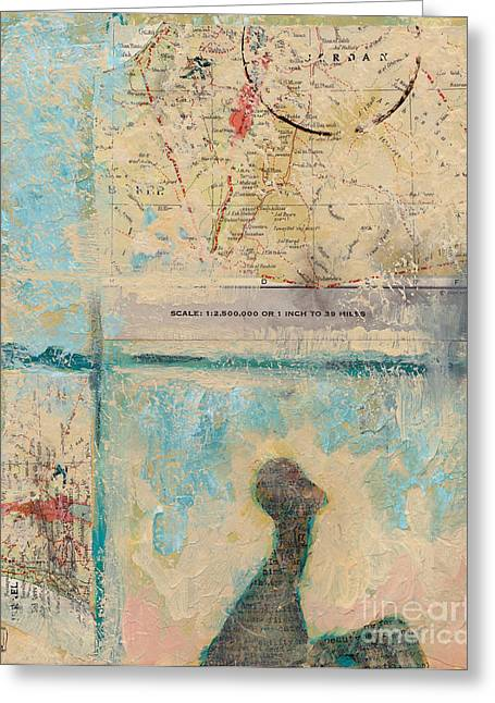 Abstract Map Paintings Greeting Cards - Road Trip Greeting Card by Robin Wiesneth