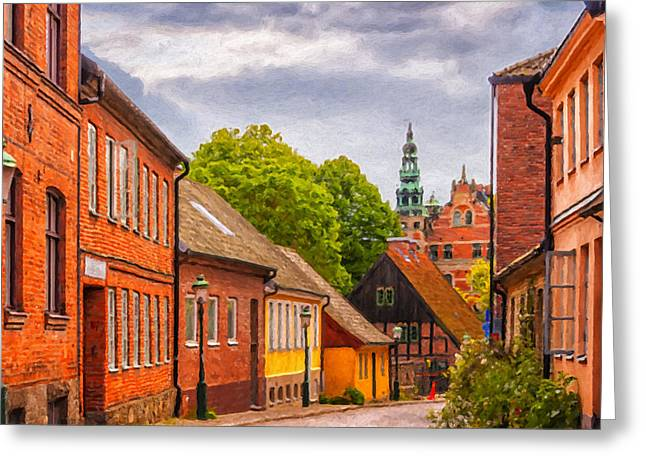 Traditional Door Greeting Cards - Roads of lund Digital Painting Greeting Card by Antony McAulay