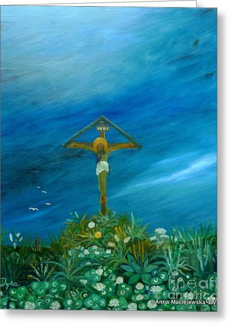 Roadside Cross Greeting Card by Anna Folkartanna Maciejewska-Dyba