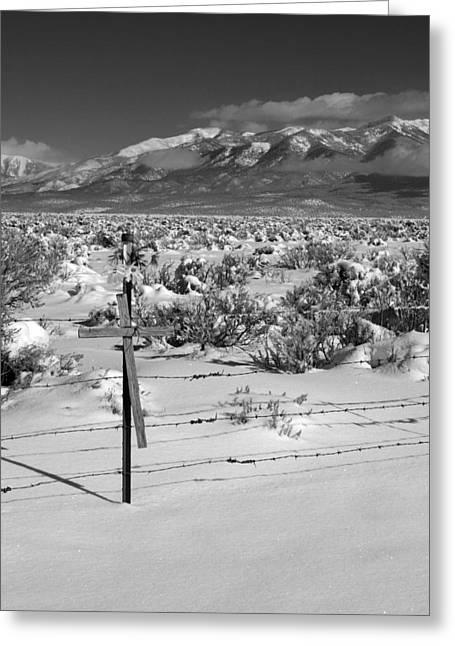 Taos Greeting Cards - Roadside Memorial Greeting Card by Troy Montemayor