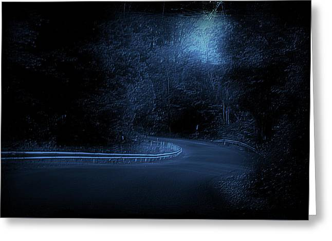 Roadway Fingers Lakes New York Area Blue Greeting Card by Thomas Woolworth