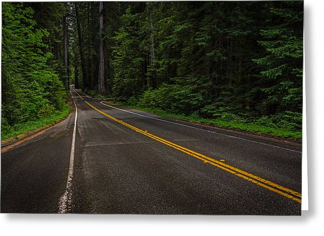 Roadway Pyrography Greeting Cards - Roadway in the Redwoods Greeting Card by Rick Strobaugh